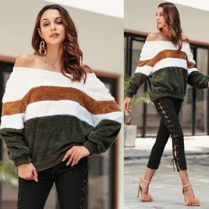 Sweaters - Off Shoulder Colorblock Plush Sweater